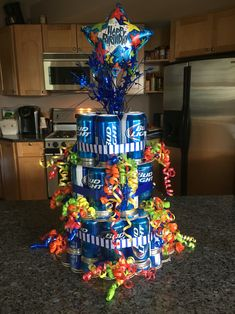 Beer can cake my mom and I made for Chris's 21st