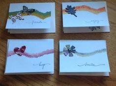 Notecards made with Acrylic Paints and Collage Chipboard Diecuts - CardCreationsbyLaura