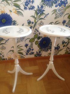 Två söta bord med stencil målning. 1