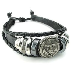 Men Women Braided Leather Bracelet, Anchor Charm Bangle 7-9 inch Adjus - InnovatoDesign