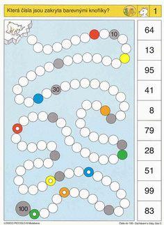 Soubor Logico Piccolo Začínáme počítat - Čísla do 100 - Zacházení s čísly, část 2 Soubor obsahuje 16 hracích karet, vždy s 10 úkoly. Karta se zasune do  rámečku a barevné 1st Grade Math, Grade 1, Daily Activities, Book Activities, Sequencing Cards, Math School, Group Games, Speech Therapy, Worksheets