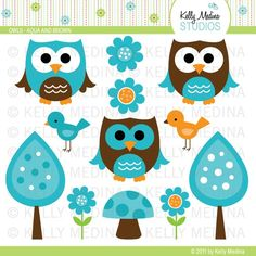 Clip Art Picutres, Clipart, Clip Art, Owls - Aqua and Brown - Clip Art Set - Digital Elements Commercial use for Cards, Stationery and Paper Crafts and Products Owl Crafts, Paper Crafts, Digital Scrapbook, Idee Baby Shower, Decoupage, Owl Clip Art, Owl Always Love You, Cute Clipart, Cute Owl