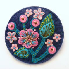 BLOSSOM FELT BROOCH WITH FREEFORM EMBROIDERY by APPLIQUE-designedbyjane, via Flickr