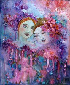 Les âmes soeurs toile 54x65cm,portrait de femmes,acrylique et huile. : Peintures par loetitiapillault