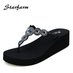 4fd463908ed6 STARFARM Shoes Women Wedge Summer Flip Flops Funny Sandals Feme Slippers  Crystal Blue Pink Yellow White Purple Slipper-in Slippers from Shoes on ...