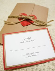 Rustic Wedding Invitation - Heart and Twine - Perfect for Rustic Weddings