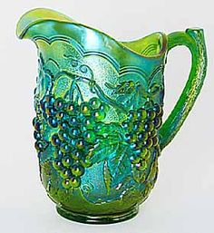 *IMPERIAL GLASS ~ Grape pitcher in emerald green. Emerald green is green base glass with blue iridescence. (Imperial Grape is the foundation of my Carnival collection as I collected grapes long before I started collecting Carnival. Antique Dishes, Antique Glassware, Vintage Dishes, My Glass, Glass Art, Vintage Carnival, Vintage Circus, Vintage Art, Imperial Glass