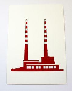 Poolbeg Towers Laser Cut Print by Snow - Jam Art Factory - Irish Art and Design Shop, Dublin Pigeon House, Framed Art, Wall Art, Irish Art, Laser Cutting, Dublin, Old Photos, Towers, Art Prints