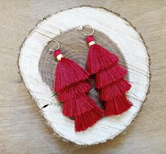 Items similar to Red Regina Boho Tassel Earrings Updo, Earrings Handmade, Christmas Time, Tassel Necklace, Tassels, Smooth, Hoop Earrings, Brass, Silk