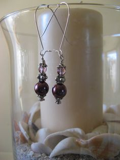 Purple and Silver Dangle Earrings by BeadifferentJewelry on Etsy, $10.00