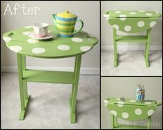 Thrift Store Table Makeover.  This is so cute...to bad I am TERRIFIED of bed bugs or maybe I could find cute vintage stuff!  :(