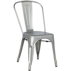 Shiny Silver Galvanized Steel Side Chair (Set of 4) - Overstock™ Shopping - Great Deals on Dining Chairs