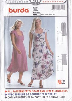 Sewing Pattern Burda 8379  Summer Cap Sleeve Dress plus size  Miss Woman 18 20 22 24 26 28 30 32 34   FF UNCUT by LanetzLiving on Etsy Burda Sewing Patterns, Simplicity Sewing Patterns, Cap Sleeves, Dresses With Sleeves, Summer Cap, Star Patterns, How To Look Better, Plus Size, Couture