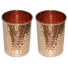 Indian Copper Tumbler Hammered Glasses for Healing Ayurvedic Product set of 2