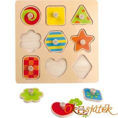Fából készült formaberakó, kilenc színes geometriai formával. A kis fa fogantyúk megkönnyítik a kicsiknek a formák fogását.  Fejleszti a koncentrációt türelmet, valamint a formák és színek felismerését. Wooden Shapes, Puzzle, Fa, Bright, Puzzles, Puzzle Games, Riddles