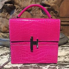 Staged in a hidden apartment off Rue Saint-Honoré Hermès showed their stunning accessories for fall including a lipstick pink croc box bag   via FASHION CANADA MAGAZINE OFFICIAL INSTAGRAM - Fashion Campaigns  Haute Couture  Advertising  Editorial Photography  Magazine Cover Designs  Supermodels  Runway Models