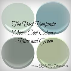 The Best Benjamin Moore Cool Colours - Most Popular Blues and Greens  Carolina Gull, Sandy Hook Gray, Brookside Moss, Florentine Plaster, Moonshine, Gray Horse. and cloud white when white is used.