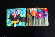Adorable owl and flower quiet book pages. Maybe flowers in a garden on one side and a vase on the other page. Moving flowers from garden to vase.