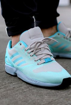 i love my new tropical twist blue runing shoes - adidas zx flux weave shoes  originals