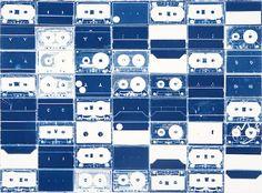 Christian Marclay Cyanotypes-Fraenkel (Cassette Grid #13)