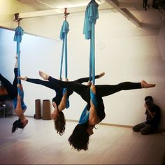 Aerial yoga. I will have one of these in my garage by the end of this year! I have got to do something asap!
