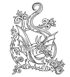 beautiful dragon doodle art abstract coloring page for adults - Free Coloring Pages Dragon