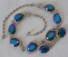 Vintage Elsa Schiaparelli Blue Purple Aurora Borealis Rhinestone Necklace Choker | eBay
