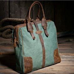 Retro Leather shoulder bag/Canvas bag /Canvas Briefcase/Mac bag/Schoolbag/ Satchel bag. $63.00, via Etsy.