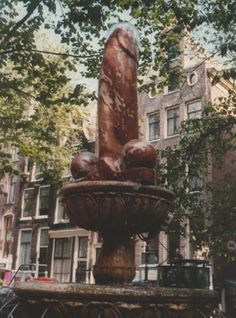 This penis sculpture has balls that rotate on a column of water - Amsterdam