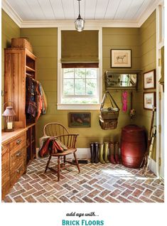 Brick floor mudroom Tiny Living Rooms, Small Rooms, Small Spaces, Old Country Houses, Diy Home Decor, Room Decor, Yellow Doors, White Shiplap, Best Paint Colors