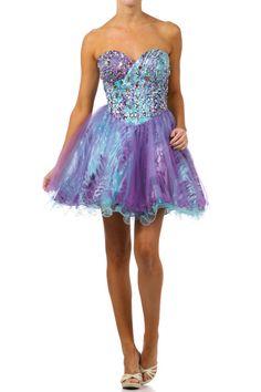 #706jul--Sweetheart Neckline Multi-Color Bustier Type Prom Dress - XS to 2XL