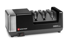 What happens when a famous German knife company collaborates the best in the business when it comes to electric knife sharpeners? The Wusthof PEtec Best Electric Knife Sharpener, Best Knife Sharpener, Global Knife Set, Global Knives, Wusthof Knives, Black Cutlery, Specialty Appliances, Small Appliances, Kitchen Appliances