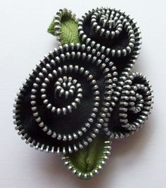 Black Abstract Floral Brooch / Zipper Pin by ZipPinning 2950 by ZipPinning on Etsy
