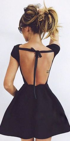 cute open back dress black outfit