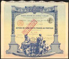 """France: S.A. du Journal """"L'Eclair"""", 500 franc share, Paris 189[1]"""