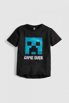 Minecraft Creeper Inside Boy/'s Black Cotton T-Shirt Sizes 3 to 14 Years