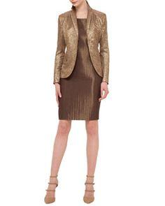 Akris Shattered Metallic Jacquard Jacket & Metallic Woven Sheath Dress Fall 2015
