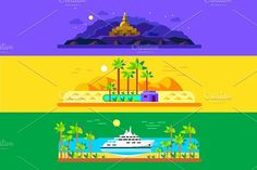 Different panoramic landscapes by TastyVector on @creativemarket