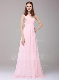 A-Linie/Princess-Linie One-Shoulder-Träger Bodenlang Chiffon Festliche Kleid mit Rüschen Perlen verziert Pailletten (020016151)