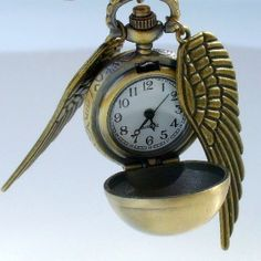 today's featured item is this Golden Snitch WATCH necklace Ball Necklace, Watch Necklace, Golden Watch, Steampunk Pocket Watch, Harry Potter Merchandise, Snitch, Medium, Cool Watches, Antique Gold