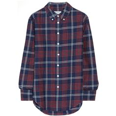 Band of Outsiders Plaid cotton-flannel boyfriend shirt (€205) ❤ liked on Polyvore featuring tops, shirts, flannels, blouses, long sleeves, blue, blue long sleeve shirt, long plaid boyfriend shirt, collared shirt and plaid boyfriend shirt