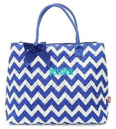 "Personalized Chevron Royal Blue 21"" Quilted Tote Bag - Gifts Happen Here - 1"
