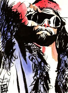 """The Macho Man Randy Savage  l  Ink and watercolor on 9"""" x 12"""" watercolor paper l #WWE"""
