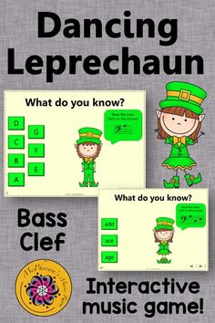 Reading notes on the Bass Clef staff is so easy for your elementary music students with this fun interactive music game! Great activity to add to your lesson plan especially in March around St. Patrick's Day!