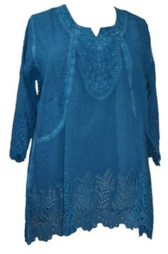 Parsley and Sage Cotton Piper Pocket Tunic in Turquoise  Generously sized feminine woven cotton tunic has 3/4 length eyelet lace edged sleeves. This deep blue dyed tunic has embroidery on the bodice and is accented with eyelet lace around the hem and 2 pockets on the front. This outfit does not stretch.  1X-3X