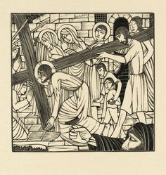 I come from the Catholic side of Protestantism. I am not sure I can make clear what it means to say 'I come from the Catholic side of Protestantism', but at the very best it means that I do not think Christianity began with the Reformation.--Stanley Hauerwas [Eric Gill, 'The Carrying of the Cross' 1926] (I consider myself to be traditional and orthodox... 'post-evangelical' with ecumenical leanings.)