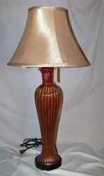 Burgandy & Gold Glass Lamp
