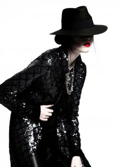 ad08b4fe296 A Byronesque model wears vintage 90 s Chanel sequin long jacket