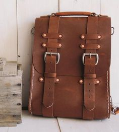 Large Brown Leather Rucksack by Stock & Barrel on Scoutmob Shoppe