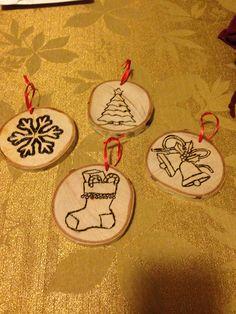 Christmas gift 2014, set of 4 wood burnt Christmas themed ornaments